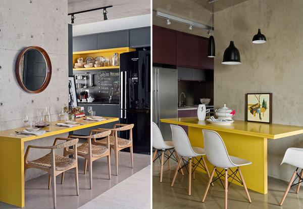 decoracao cozinha e copa : decoracao cozinha e copa:Na junção da sala com a cozinha, o amarelo foi parar na bancada . A